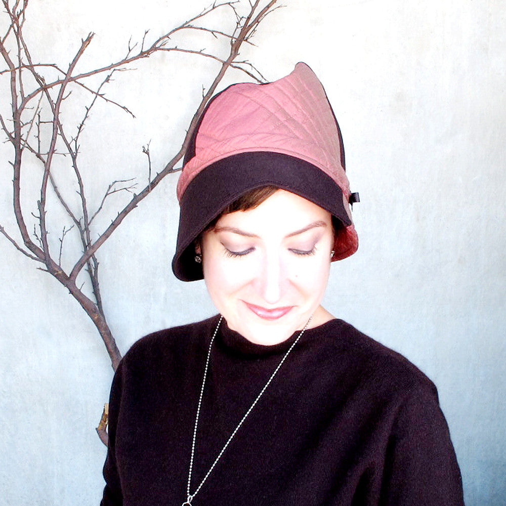 Lovely ladies winter cloche hat in chocolate brown & brick pink - terry graziano