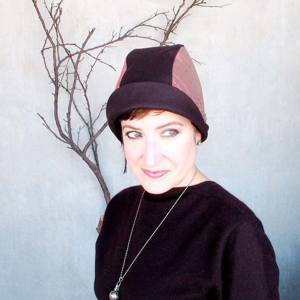 Handmade designer cloche fedora cap in chocolate brown & brick pink - terry graziano