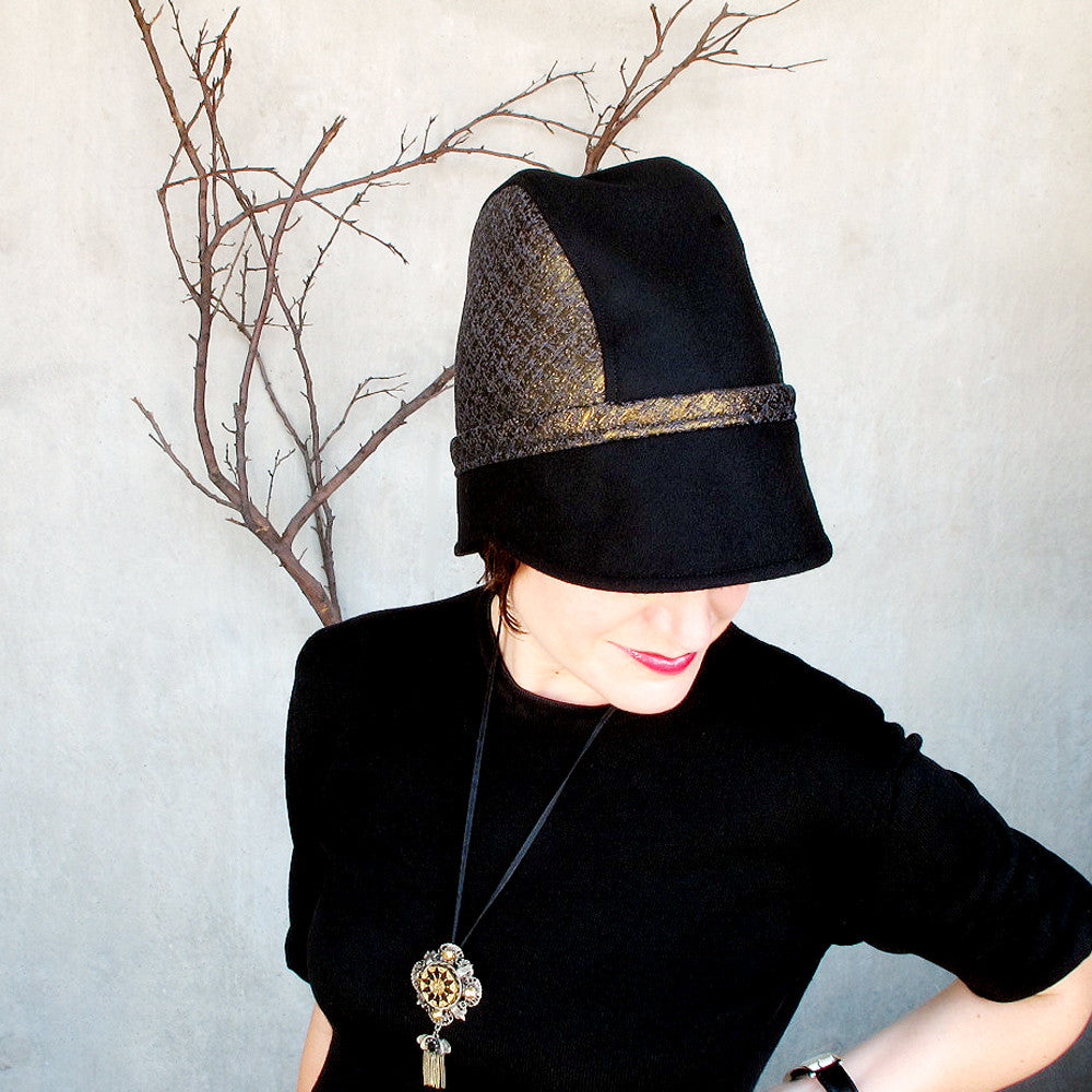Womens brimmed winter cap in black wool & gold brocade - terry graziano