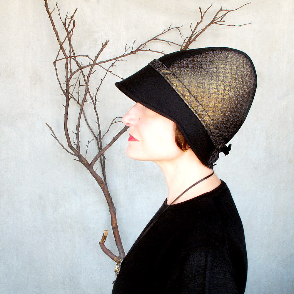Womens special occasion cloche hat in black wool & gold brocade - terry graziano