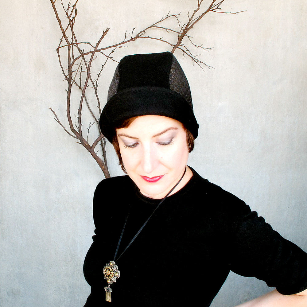 Ladies fancy millinery hat in black wool & gold brocade - terry graziano