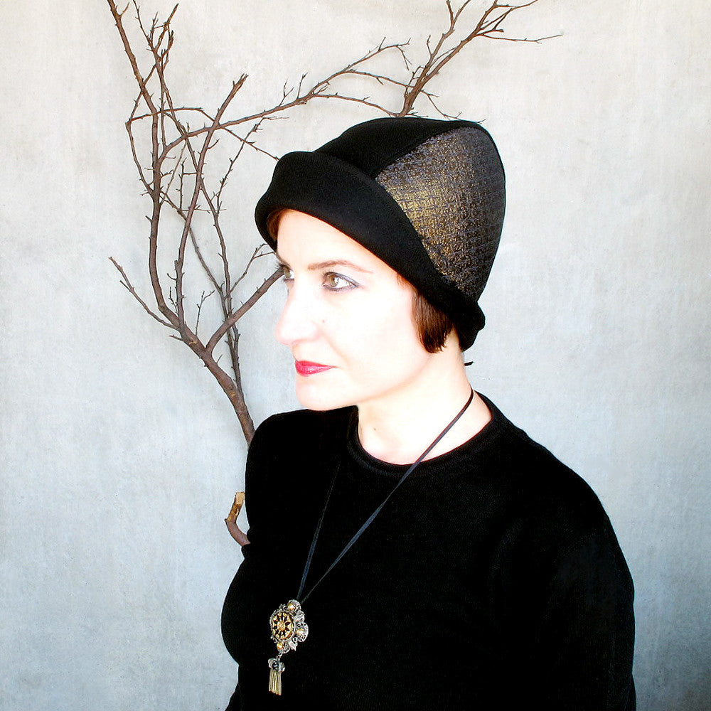 Modern millinery cloche hat in black wool & gold brocade - terry graziano