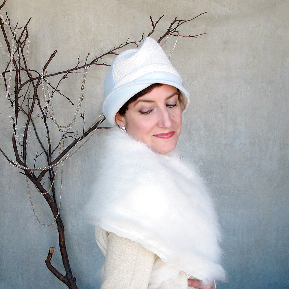Special occasion womens cloche hat in ice blue & white sparkle wools - terry graziano