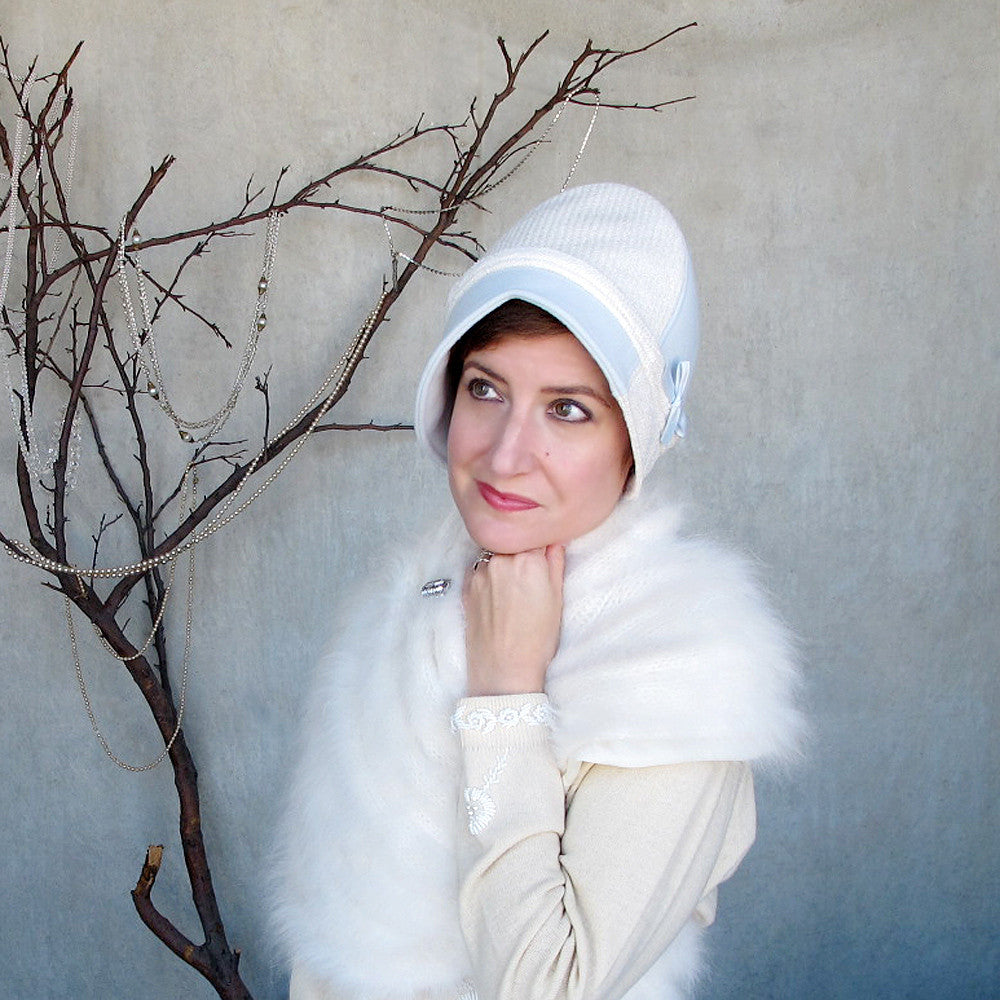 Something blue winter wedding hat in ice blue & white sparkle wools - terry graziano