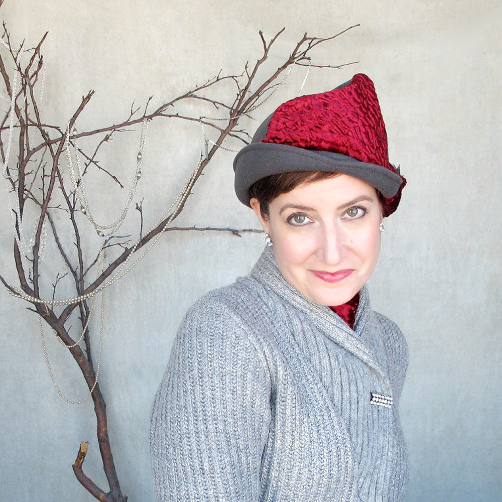 Ladies fancy moldable cloche in soft grey & scarlet red - terry graziano