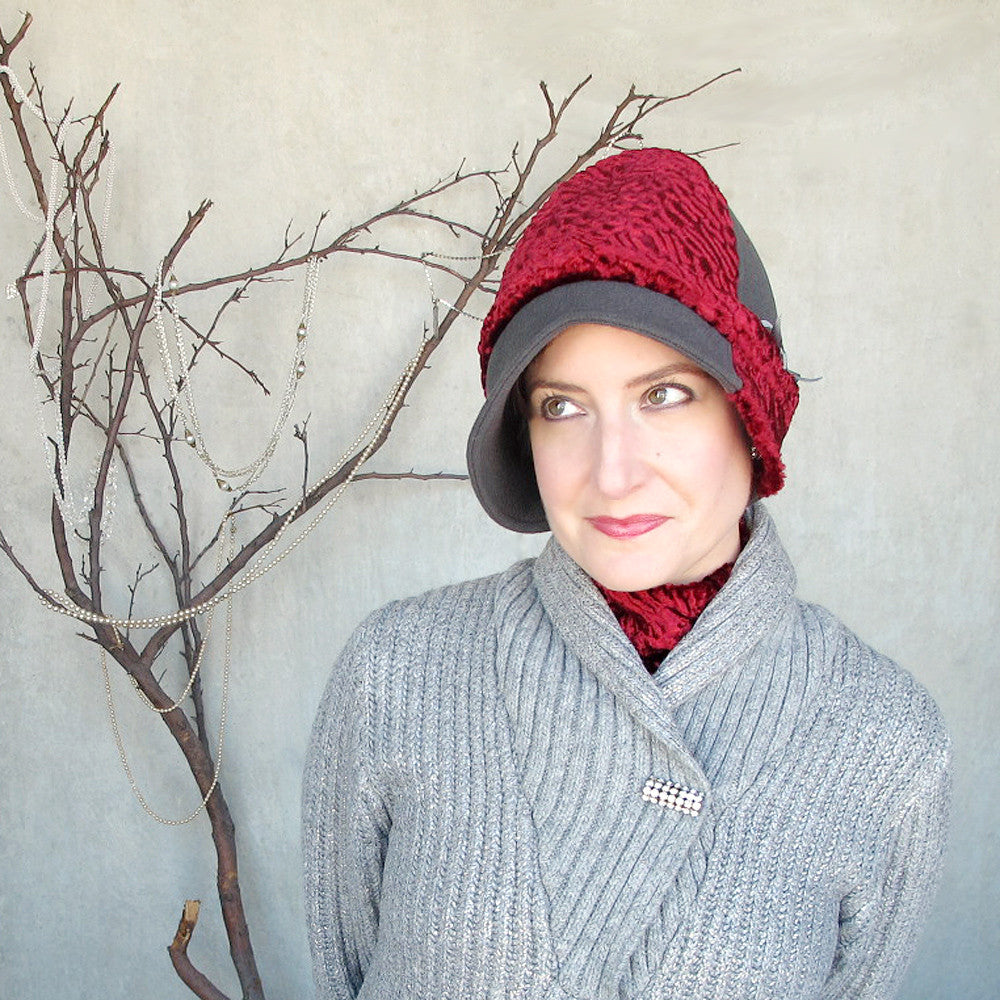 Handmade designer cloche hat in soft grey & scarlet red - terry graziano