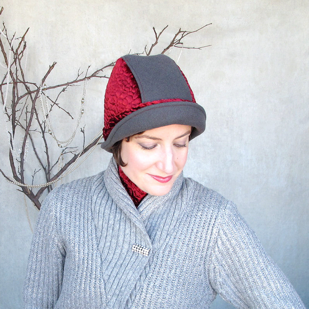 Womens warm brimmed cloche in soft grey & scarlet red - terry graziano