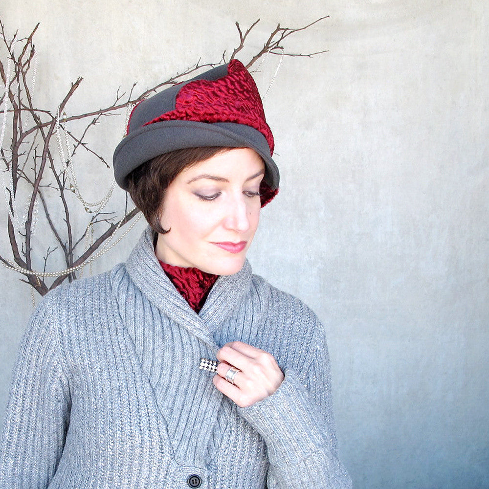 Elegant wool & velvet hat in soft grey & scarlet red - terry graziano