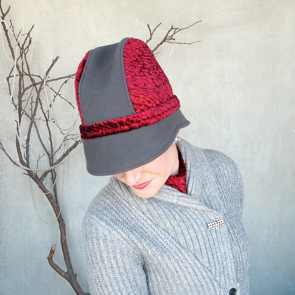 Striking high fashion cloche fedora cap in soft grey & scarlet red - terry graziano