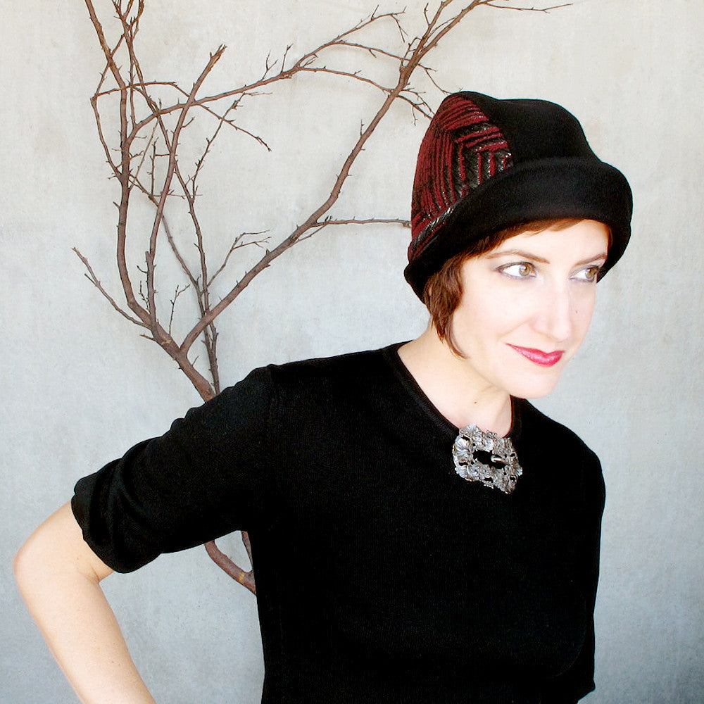Womens warm winter cap in black & oxblood - terry graziano