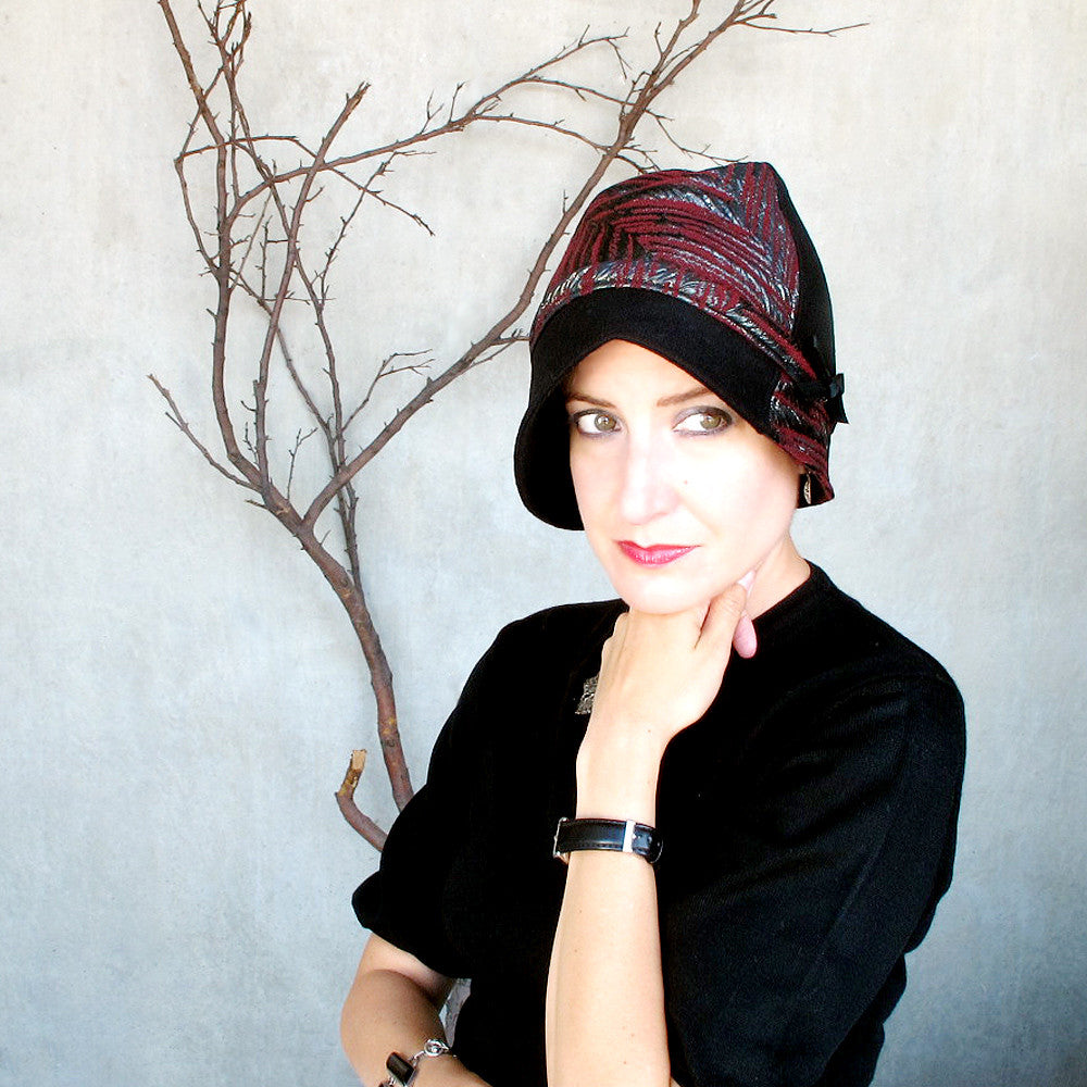 Unique ladies cloche hat in black & oxblood - terry graziano
