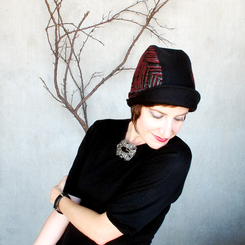 Designer cloche hat in unique fabrics, black wool & oxblood - terry graziano