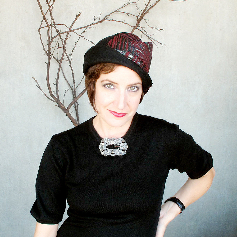 Elegant special occasion hat in black & oxblood - terry graziano
