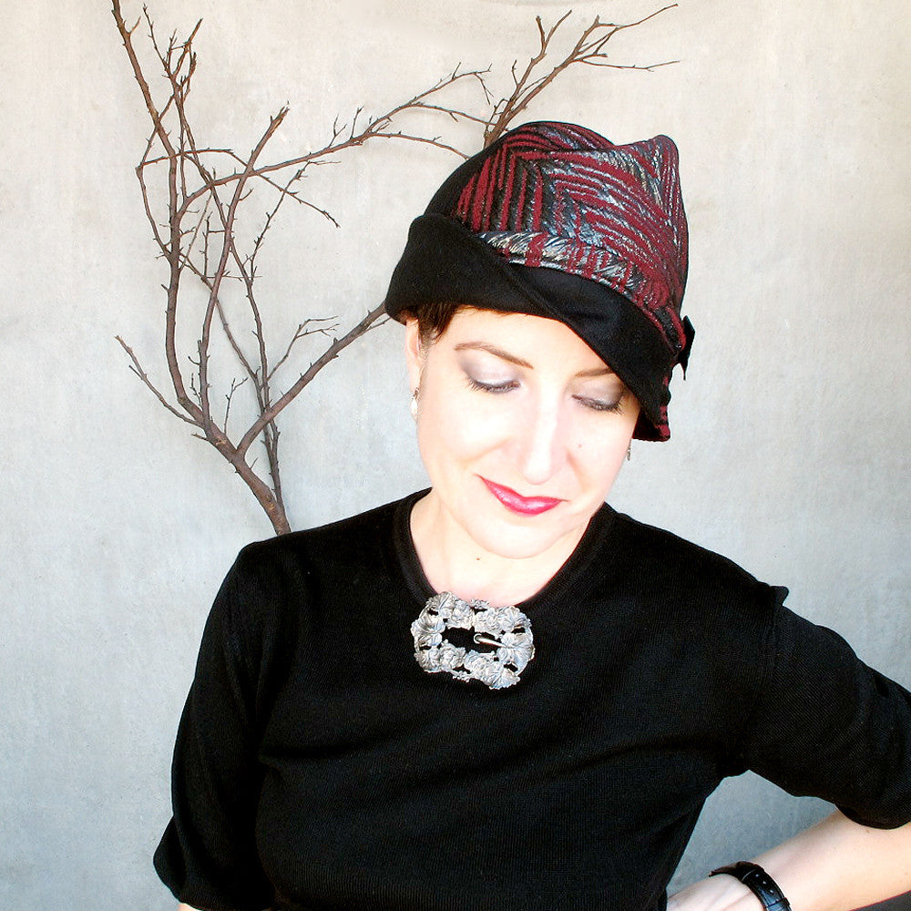 Fancy modern millinery cloche hat cap in black & oxblood - terry graziano
