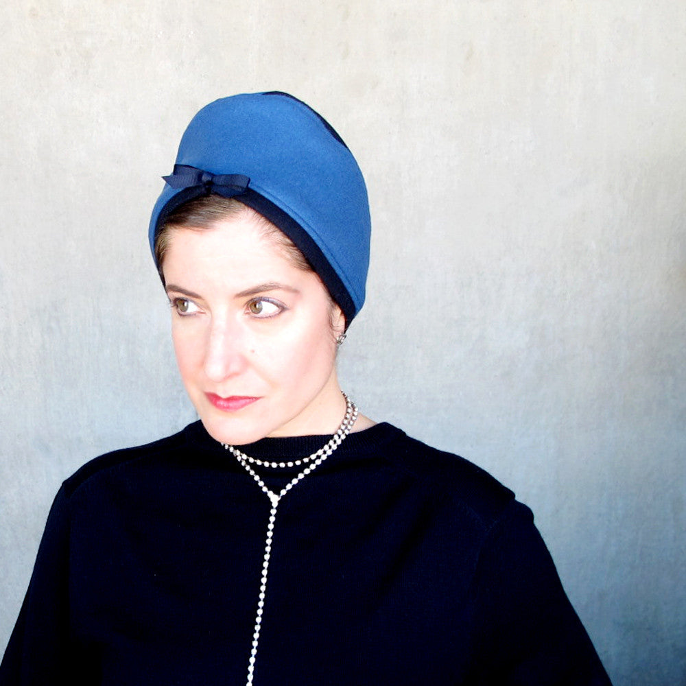 Womens modern turban in blue wool & cashmere - terry graziano
