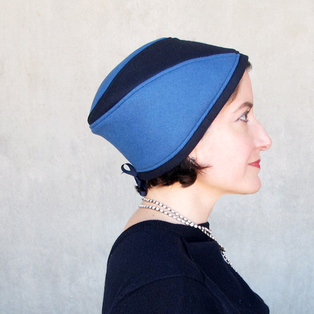 Womens blue wool & cashmere skullcap - terry graziano