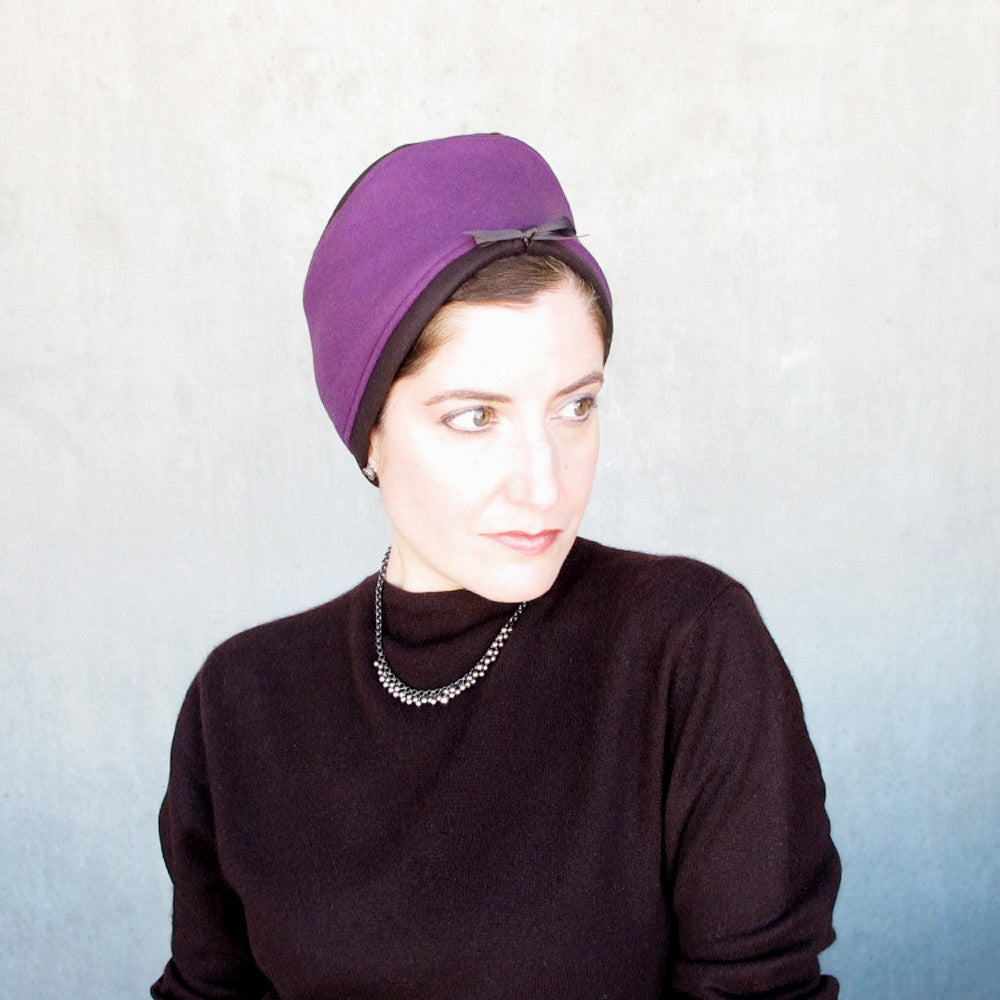 Modern millinery toque in purple & brown - terry graziano