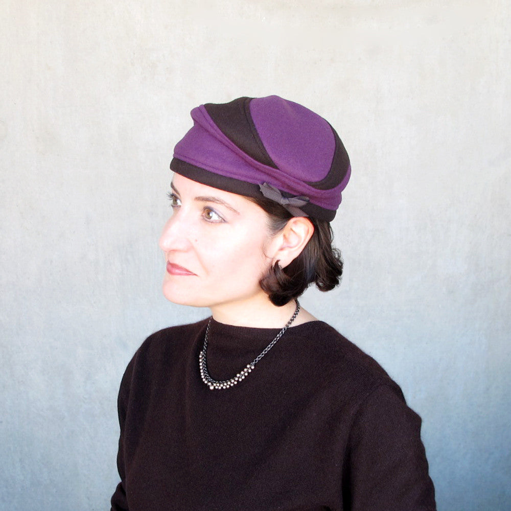 Womens wool & cashmere beret in purple & brown - terry graziano