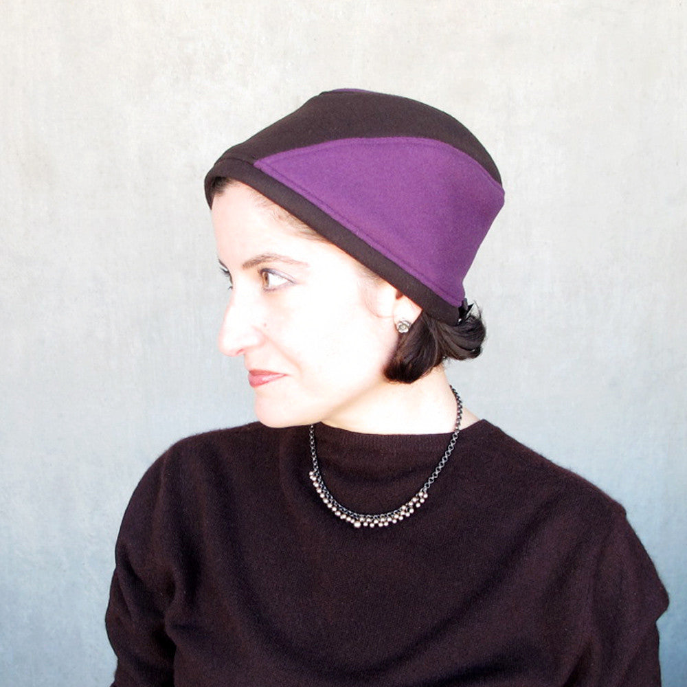 Warm winter hat in purple & brown - terry graziano