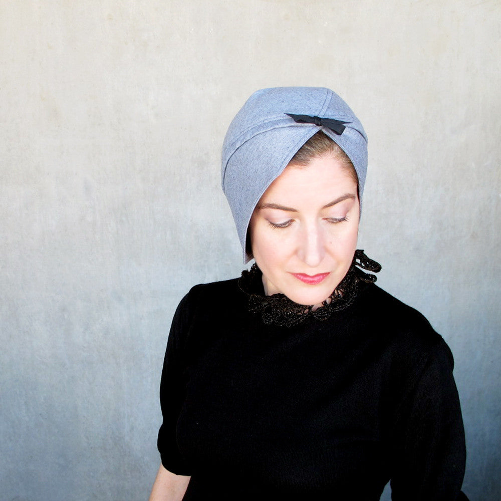 Womens modern turban in blue gray wool - terry graziano