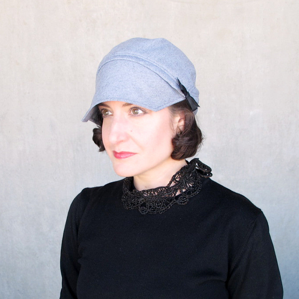 Modern millinery cap in blue gray wool - terry graziano