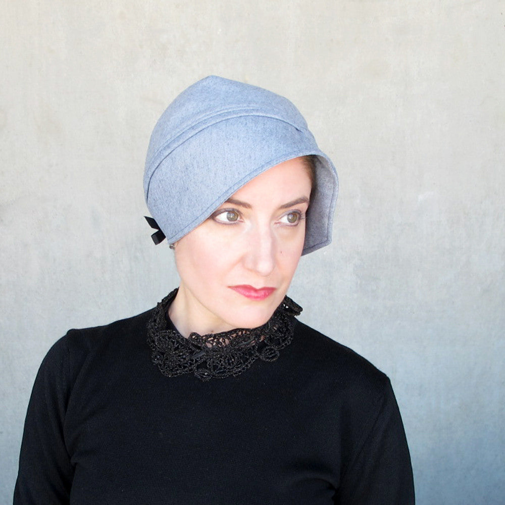 Sophisticated turban in blue gray wool - terry graziano