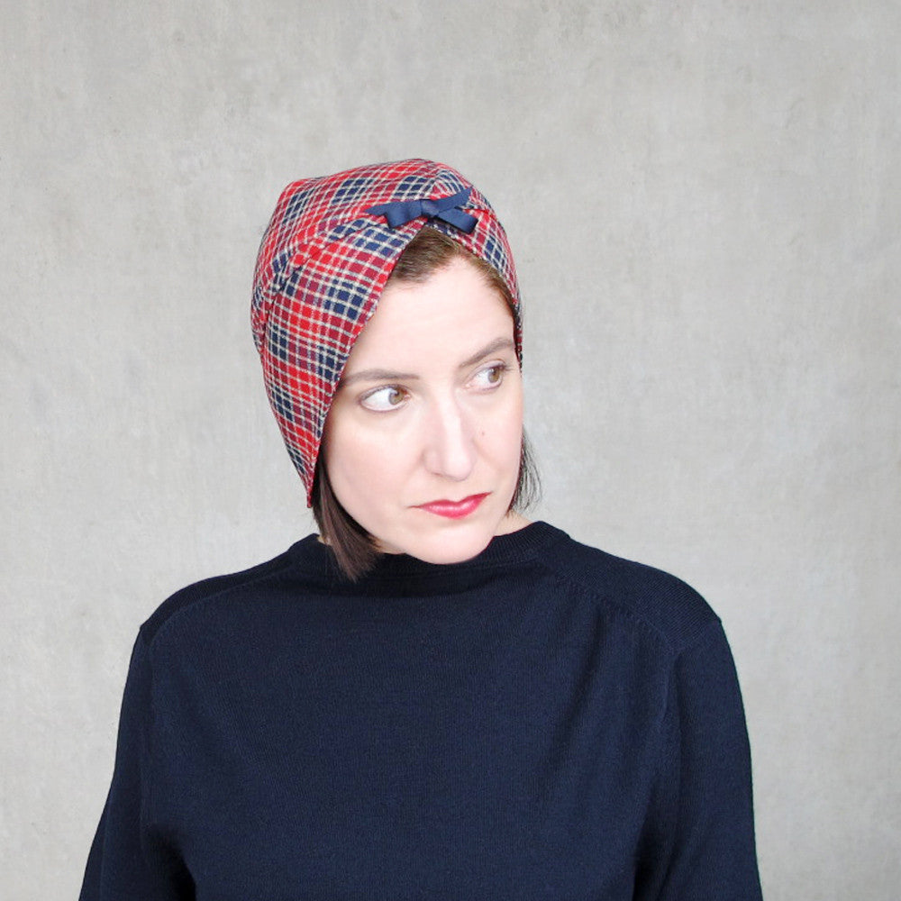 Sophisticated modern turban in red & blue plaid wool - terry graziano