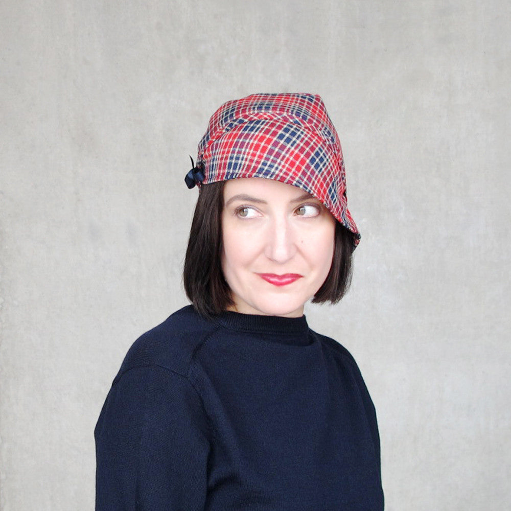 Ladies split brim cap in red & blue plaid wool - terry graziano