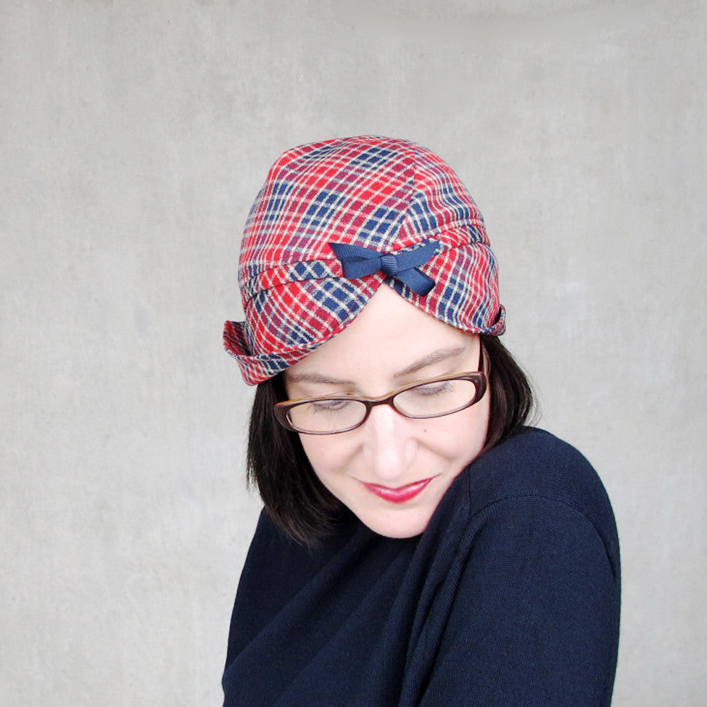 Womens modern wool turban in red & blue plaid wool - terry graziano