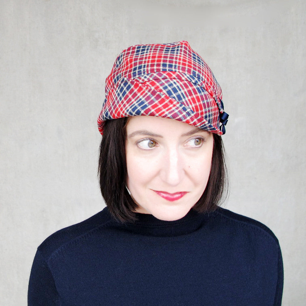 Brimmed cloche cap in red & blue plaid wool - terry graziano