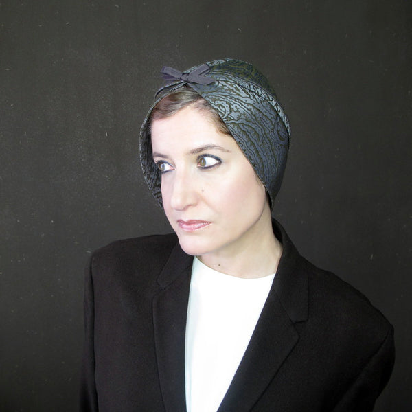 Beautiful modern turban in olive & grey paisley - terry graziano