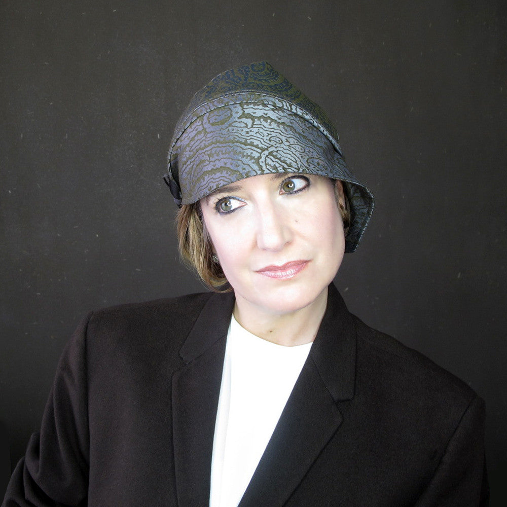 Modern millinery hat cloche turban cap in paisley - terry graziano