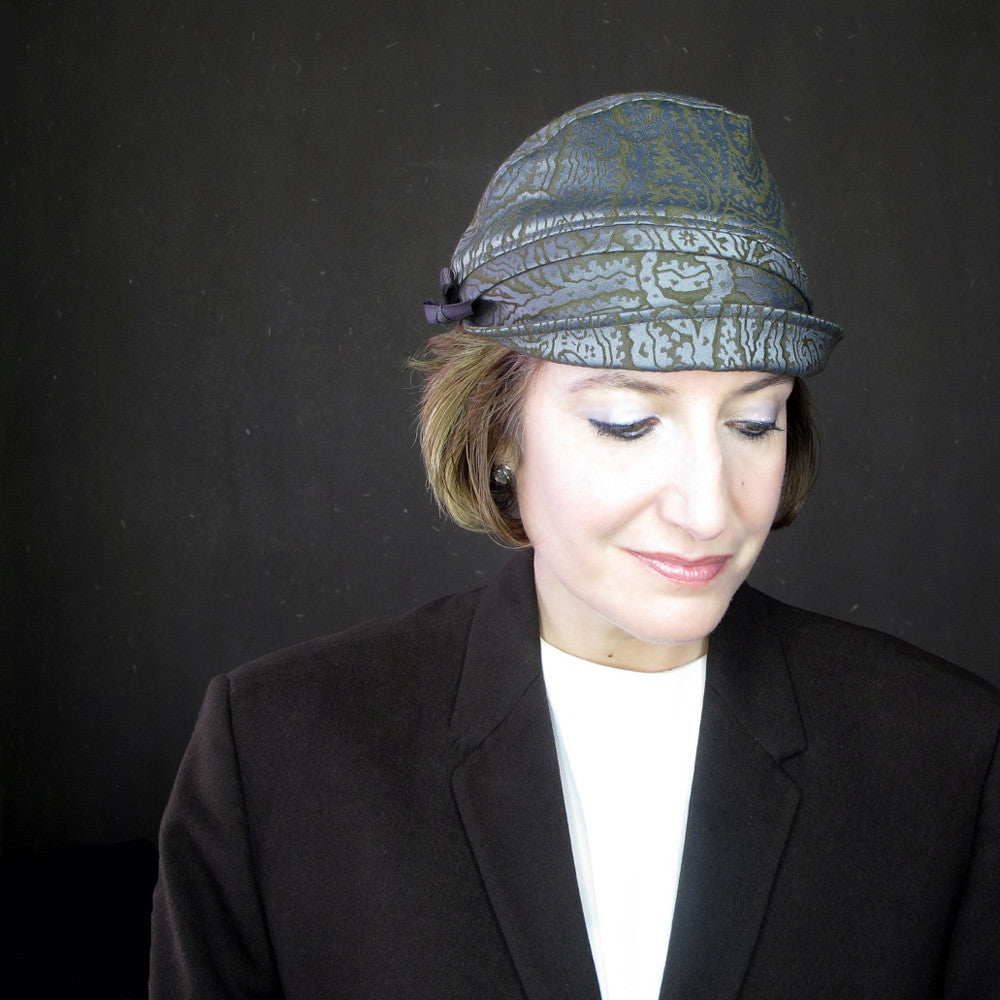 Brimmed cloche hat in paisley for autumn - terry graziano