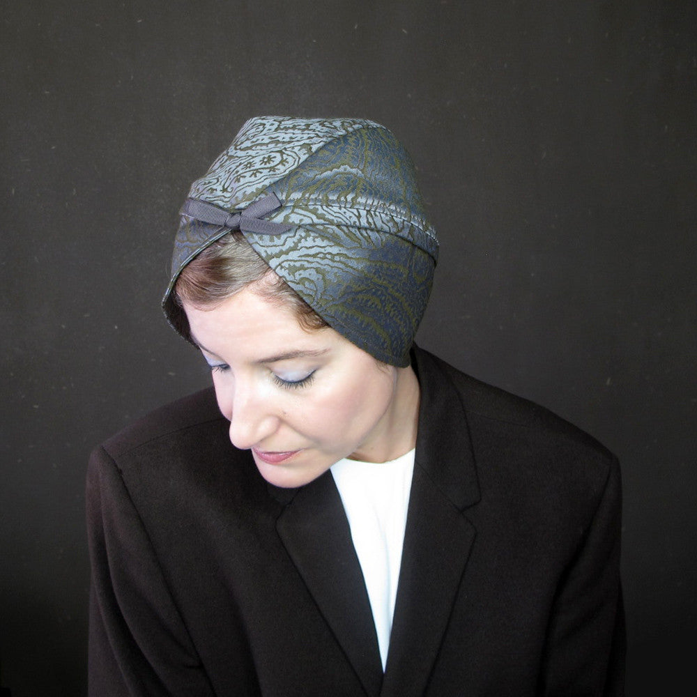 Elegant turban hat in olive green & gray paisley - terry graziano