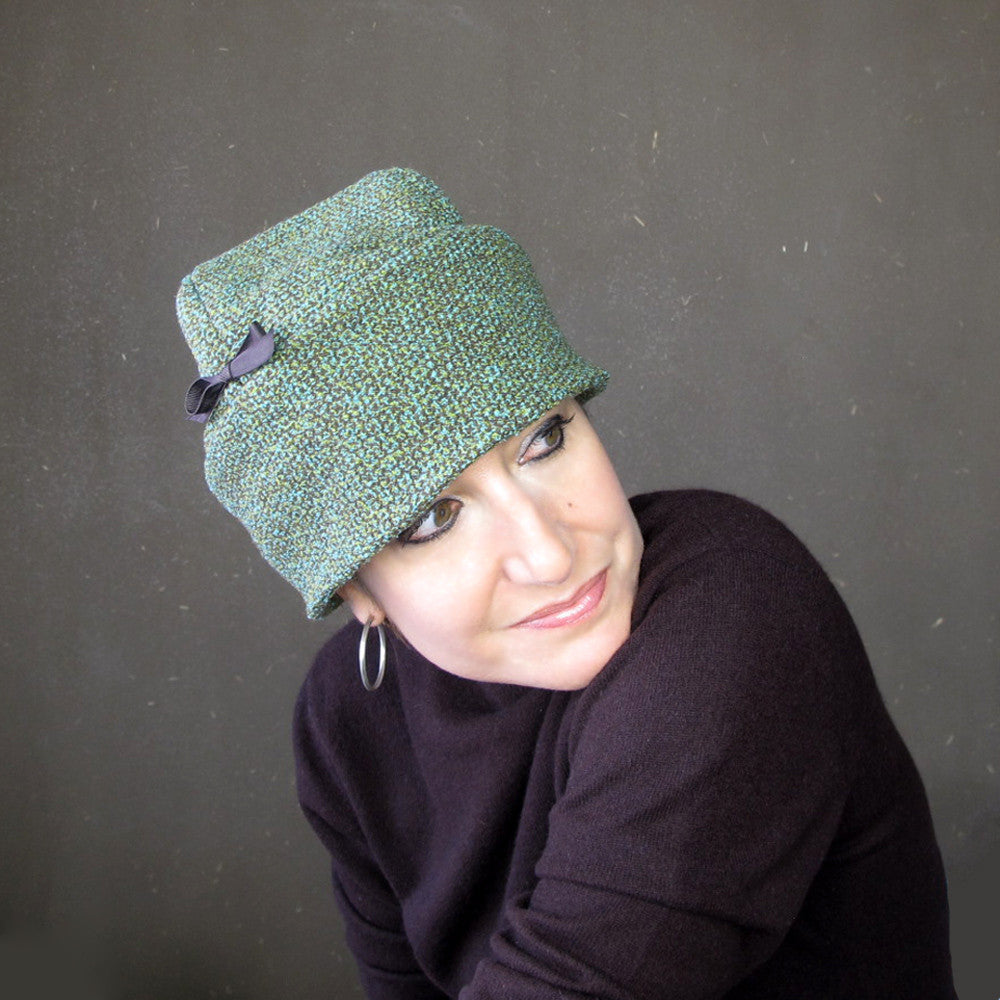 Ladies beautiful winter cloche in teal blue, green and chocolate brown tweed wool - terry graziano