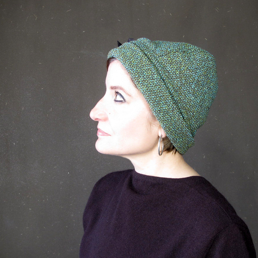 Warm winter brimmed skullcap in teal blue, green and chocolate brown tweed wool - terry graziano