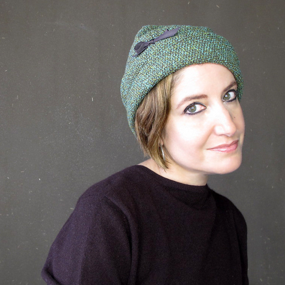 Modern millinery cap in teal blue, green and chocolate brown tweed wool - terry graziano