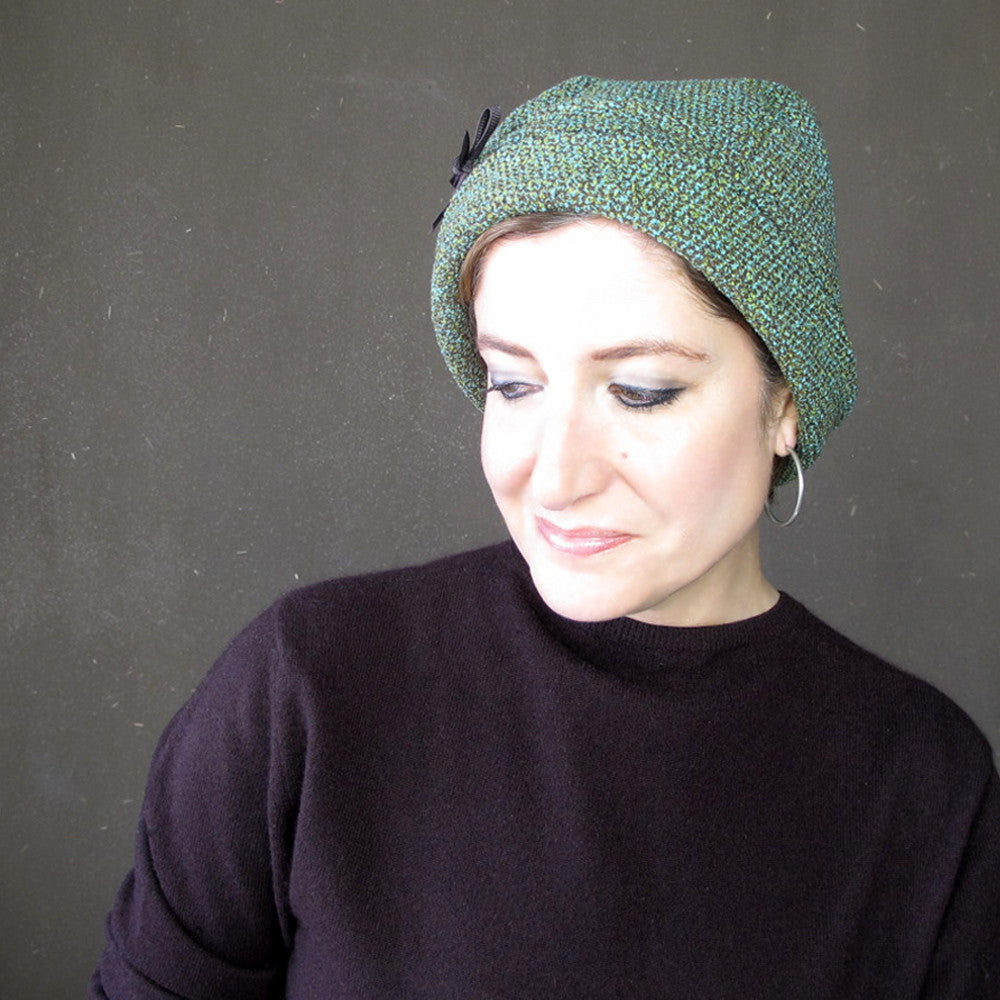 Ladies lovely warm cloche in teal blue, green and chocolate brown tweed wool - terry graziano