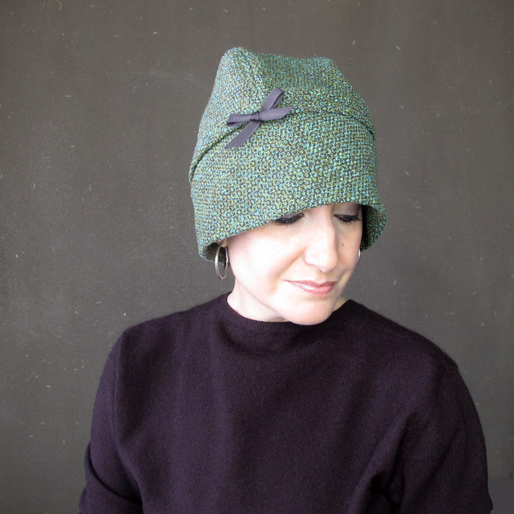 Wool tweed cloche in teal blue, green and chocolate brown - terry graziano