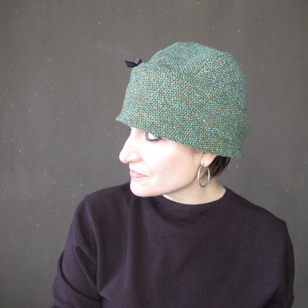 Independent designer tweed cloche hat in teal blue, green and chocolate brown wool - terry graziano
