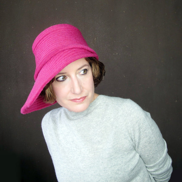 Womens asymmetrical brim cloche in hot pink - terry graziano