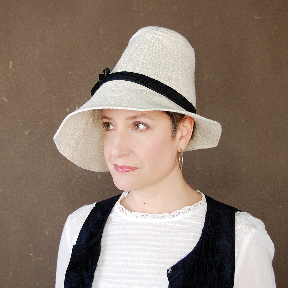 Piazza : Wide brim asymmetrical straw hat, tall crown sun hat, linen cotton summer hat, handmade millinery for women