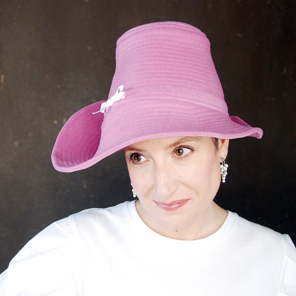 Piazza : Orchid pink spring hat, asymmetrical brim cloche, wool wide brim hat, handmade millinery for women