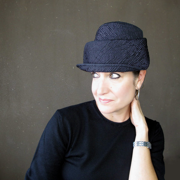 Plot Twist in iridescent violet neoprene : Women's brimmed cloche, custom sized - terry graziano - 1