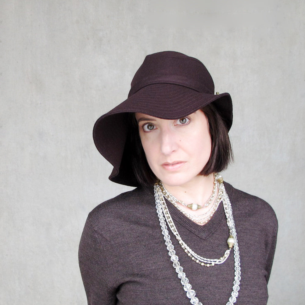 Floppy wide brim wool hat in chocolate brown wool - terry graziano