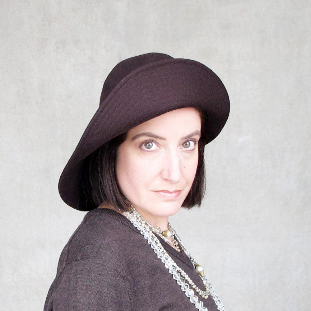 Modern millinery cartwheel hat in chocolate brown wool - terry graziano