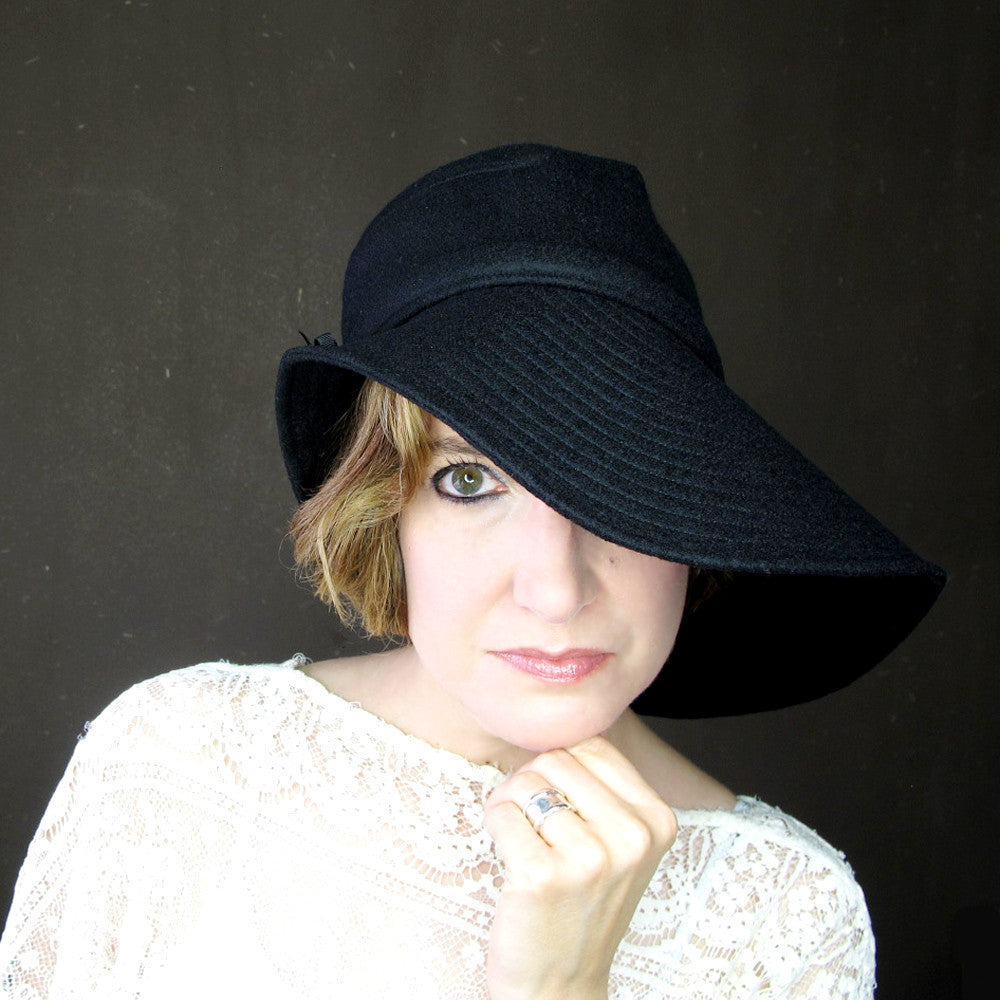 Ripple Effect in Black Wool & Cashmere : Womens Floppy Wide Brim Hat - terry graziano  - 11