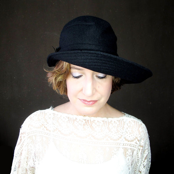 Ripple Effect in Black Wool & Cashmere : Womens Floppy Wide Brim Hat - terry graziano - 1