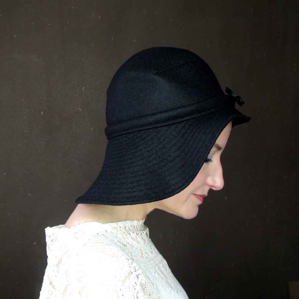 Ripple Effect in Black Wool & Cashmere : Womens Floppy Wide Brim Hat - terry graziano  - 2