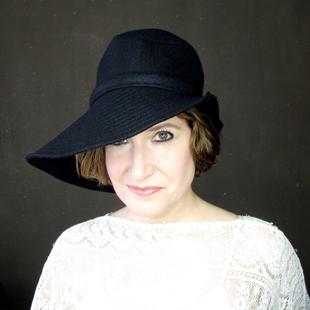 Ripple Effect in Black Wool & Cashmere : Womens Floppy Wide Brim Hat - terry graziano  - 3
